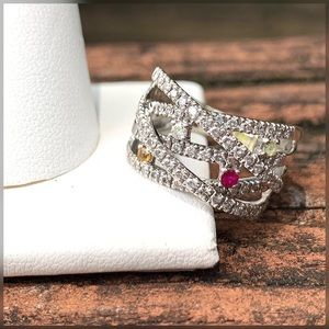 14k Gorgeous Diamond (shimmery) & Gemstones Ring